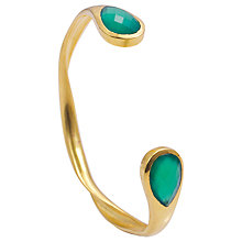 Buy Azuni 24ct Gold Plated New Open Backed Twisted Bangle, Green Onyx Online at johnlewis.com