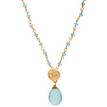 Buy Azuni 24ct Gold Plated New Stone and Disc Necklace, Aqua Chalcedony Online at johnlewis.com