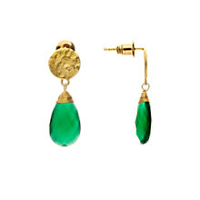 Buy Azuni 24ct Gold Plated Larger Sized Disc Earrings, Green Onyx Online at johnlewis.com