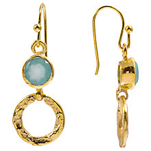 Buy Azuni 24ct Gold Plated Smaller Stone and Hoop Earrings, Aqua Chalcedony Online at johnlewis.com
