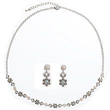Buy John Lewis Pearl and Diamante Fine Flower Set, White Online at johnlewis.com