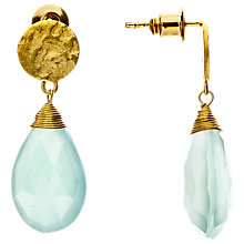 Buy Azuni 24ct Gold Plated Larger Sized Disc Drop Earrings, Aqua Chalcedonay Online at johnlewis.com