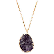 Buy Decadorn 9ct Gold Plated Medium Rock Amethyst Necklace, Purple Online at johnlewis.com
