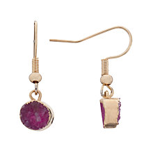 Buy Decadorn 9ct Gold Plated Drusy Dropper Earrings, Pink Online at johnlewis.com