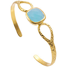 Buy Azuni 24ct Gold Plated New Open Backed Square Stone Bangle, Aqua Chalcedony Online at johnlewis.com