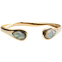 Buy Azuni New Open Backed Twisted Labradorite Bangle, Gold Online at johnlewis.com