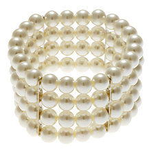 Buy John Lewis 4 Rows Pearl Stretch Bracelet, White Online at johnlewis.com
