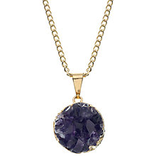 Buy Decadorn 9ct Gold Plated Circle Amethyst Necklace, Purple Online at johnlewis.com