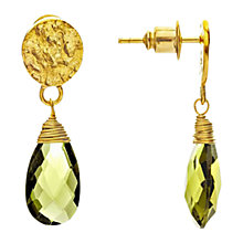 Buy Azuni 24ct Gold Plated Larger Sized Disc Earrings, Lemon Chalcedonay Online at johnlewis.com