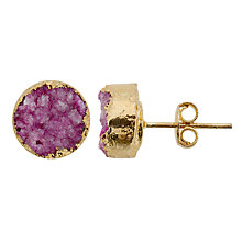 Buy Decadorn 9ct Gold Plated Drusy Small Stud Earrings Online at johnlewis.com