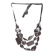 Buy One Button 3 Row Bead Necklace, Charcoal Online at johnlewis.com