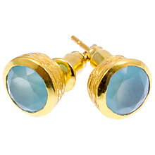 Buy Azuni 24ct Gold Plated Stud Earrings, Aqua Chalcedony Online at johnlewis.com