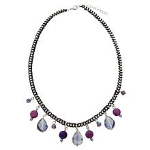 Buy One Button Box Chain Drop Bead Necklace, Purple / Blue Online at johnlewis.com