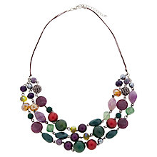 Buy One Button Three Row Cord Necklace, Multi Online at johnlewis.com