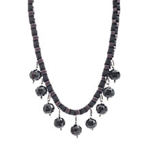 Buy One Button Large Beaded Collar Necklace, Black Online at johnlewis.com