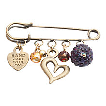 Buy One Button Hearts and Glitter Bead Pin Pendant, Multi Online at johnlewis.com