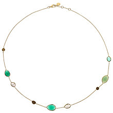 Buy John Lewis Gemstones Gold Plated Onyx Open Disc and Cluster Necklace, Green Online at johnlewis.com