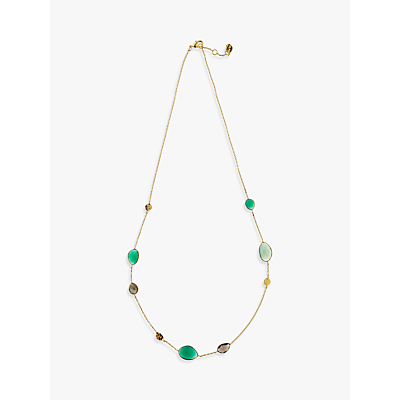 John Lewis Gemstones Gold Plated Onyx Hammered Disc Necklace, Multi