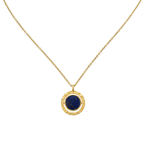 Buy John Lewis Gemstones Gold Plated Lapis Spinning Disc Necklace, Navy Online at johnlewis.com