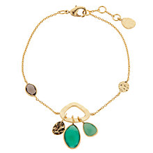 Buy John Lewis Gemstones Gold Plated Onyx Open Disc & Teardrop Bracelet, Green / Gold Online at johnlewis.com