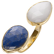 Buy John Lewis Gemstones Gold Plated Lapis Flat Double Tear Drop Ring, White / Dark Blue Online at johnlewis.com
