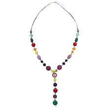 Buy One Button Y Drop Cord Bead Necklace, Multi Online at johnlewis.com