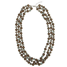 Buy One Button Triple Strand Bead Necklace, Brown / Grey Online at johnlewis.com