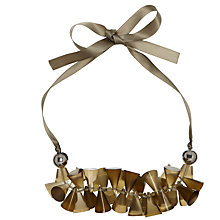 Buy One Button Cone Clusters Ribbon Necklace, Grey Online at johnlewis.com
