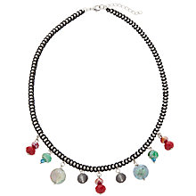 Buy One Button Box Chain Drop Bead Necklace, Red / Green Online at johnlewis.com