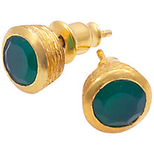 Buy Azunis 24ct Gold Plated Pointed Stud Earrings, Green Onyx Online at johnlewis.com