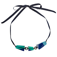 Buy One Button Acrylic Pyramids Ribbon Necklace, Blue Online at johnlewis.com