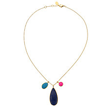 Buy John Lewis Gemstones Gold Plated Lapis Teardrop Pendant & Cluster Necklace, Blue Online at johnlewis.com