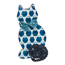 Buy One Button Cat With Curly Tail Brooch, Blue Online at johnlewis.com