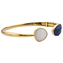Buy John Lewis Gemstones Gold Plated Hinged Cuff Bangle, Navy / White Online at johnlewis.com