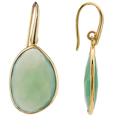John Lewis Gemstones Gold Plated Lapis Tear Drop Earrings, Green
