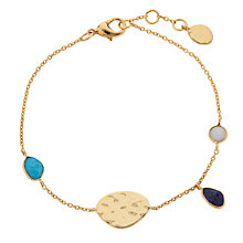 Buy John Lewis Gemstones Gold Plated Lapis Disc & Teardrop Bracelet, Gold Online at johnlewis.com
