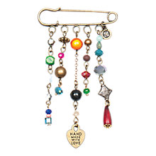 Buy One Button Hearts and Glitter Bead Pin Brooch, Multi Online at johnlewis.com