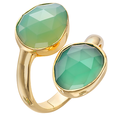 John Lewis Gemstones Gold Plated Onyx Stacked Two Tear Drop Ring, Green