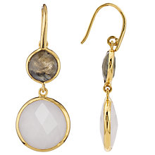 Buy John Lewis Two Circle Drop Earrings, Metallic/White Online at johnlewis.com