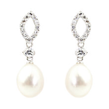 Buy A B Davis Freshwater Pearl Cubic Zirconia Drop Earrings, Silver / White Online at johnlewis.com