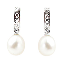 Buy A B Davis Sterling Silver Freshwater Pearl Cubic Zirconia Drop Earrings, Silver / White Online at johnlewis.com