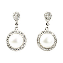 Buy A B Davis Freshwater Pearl Cubic Zirconia Cluster Drop Earrings, Silver/White Online at johnlewis.com