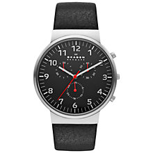 Buy Skagen SKW6100 Men's Ancher Leather Chronograph Watch, Black Online at johnlewis.com
