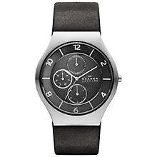 Buy Skagen SKW6116 Men's Grenen Leather Multifunction Watch, Black Online at johnlewis.com