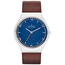 Buy Skagen SKW6112 Men's Grenen Leather Strap Watch, Brown/Blue Online at johnlewis.com