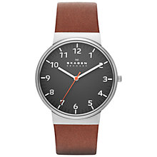 Buy Skagen SKW6095 Men's Ancher Leather Strap Watch, Brown Online at johnlewis.com