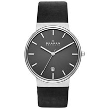 Buy Skagen SKW6101 Men's Ancher Leather Strap Watch, Black Online at johnlewis.com