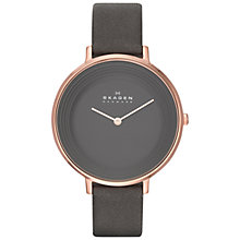 Buy Skagen SKW2216 Women's Ditte Leather Strap Watch, Black Online at johnlewis.com