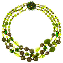 Buy Eclectica 1950s Triple Row Glass and Plastic Bead Necklace, Green Online at johnlewis.com