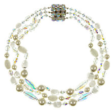 Buy Eclectica Vintage 1950s Three Row Bead Necklace, White Online at johnlewis.com